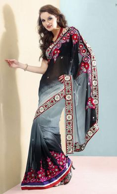 Ash Gray And Black Faux Georgette Latest Fashion Saree 16073 With Unstitched Blouse