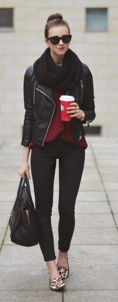 Leather Zipper Moto +  Burgundy Sweater +  Lepord Lofers