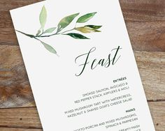 A customised printable feast menu design that will look perfect at your wedding or event.   PLEASE NOTE: This listing is for a digital file only, NO physical goods will be mailed to you.  You will receive a PDF file via email that you can then print as many times as you need.  Size: DL (210 x 100mm) Formatted so that there is 2 up on a A4 page (to save paper when you are printing.) If you are after a different size or format, please feel free to contact me before hand.  Your Info: At the…