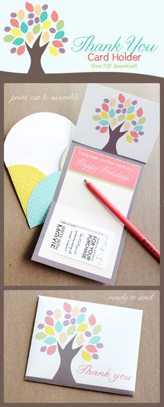 Um.. SUPERFUN {free printable} thank you card with printable envelope and slot for a gift card! send them LOTS OF LOVE.