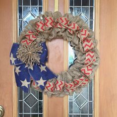 July 4th Wreath, Patriotic Wresth, American Wreath, 4th of July Wreath, Natural Blue and Red Chevron Burlap Wreath