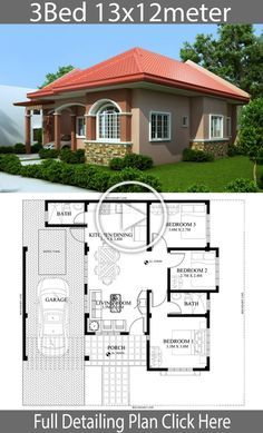 Home design plan with 3 Bedrooms - Home Design with Plansearch Home design plan with 3 Bedrooms.House description:One Car Parking and gardenGround Level: Living room, 3 Bedrooms, Dining room, Kitchen House Layout Plans, Family House Plans, Dream House Plans, Small House Plans, Simple House Design, House Front Design, Modern House Design, Modern Bungalow House, Bungalow House Plans