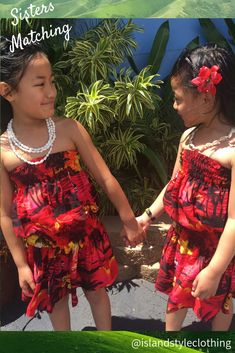 Gorgeous family photo matching Sisters in red sunset. Girls Tube Dress. #alohastyle #matchymatchy #hawaiianshirt #boyshawaiianshirt #redsunset #matchingclothing #partyshirt #hawaiianprints #cruisewear #luauparty #beachwearset #palms #palmsprint #holiday #cruise #cabana #vintage #tropical #alohashirt #partyshirt #siblingsmatching #fancydress #familymatching