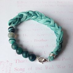 Braided Ribbon and Matte Agate Bracelet - Cherry Tree Beads