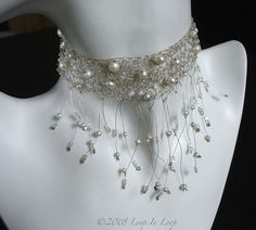 Items similar to Statement Necklace - Dreamy Lacy Crochet by hand Wire Wrapped Fine Silver and Pearl Choker One Of A Kind on Etsy Wire Jewelry, Jewelry Crafts, Jewelry Art, Beaded Jewelry, Unique Jewelry, Jewelery, Wire Crochet, Pearl Choker, Textiles