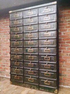 industrial original strafor Small Parts Organizer, Filing Cabinet, Industrial, Organization, The Originals, Antiques, Storage, Furniture, Home Decor