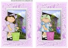 2 Flower Pot Girls Card Fronts Set 3