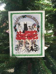 A personal favorite from my Etsy shop https://www.etsy.com/listing/462891994/schnauzers-in-the-house-holiday