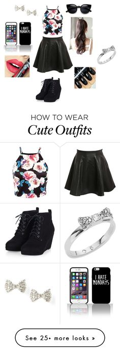 """Black cute outfit"" by julzey2 on Polyvore featuring Pilot, Fiebiger, Kate Spade, women's clothing, women's fashion, women, female, woman, misses and juniors"