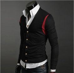 High collar shirt & retro cardigan
