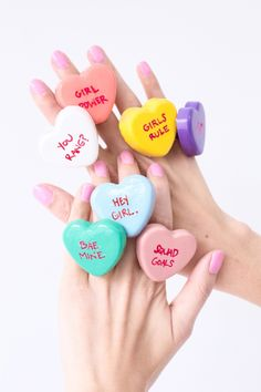 DIY Conversation Heart Rings   Studio DIY, January 2016 http://ewoodworkingprojects.com/wooden-candle-holders/