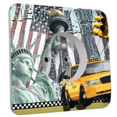 Prise déco New York taxi 2 pôles + terre