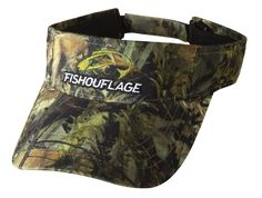 Bass Pattern Full Camo Visor. Constructed from rugged poly twill fabric with anti-microbial treatment for freshness and wicking moisture management keeps the cap cool. Fishouflage logo on the front of the cap with velcro closure on the back.