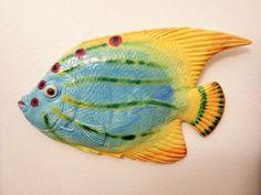 "Multi-color Fish Art Tile wall hanging 12x7"" Ceramic Hand Painted #Handmade #Nautical Fish Wall Art, Fish Art, Fish Decorations, Pretty Fish, Nautical, Tile, Hand Painted, Ceramics, Handmade"