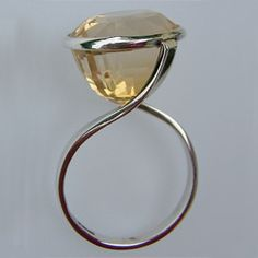 Ring | Melinda Clark. Silver with citrine. I have a citrine that I need to set- this is gorgeous.