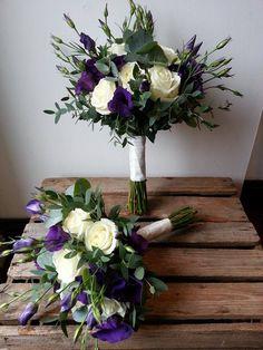 avalanche rose, purple lisianthus and eucalyptus bouquet.