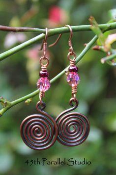 Rose Swarovski Crystal Copper Earrings by 45thParallelStudio