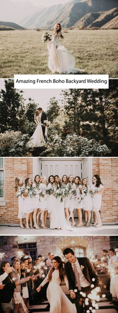 How much do we love this French-Bohemian wedding?! First, her dress and her bridesmaids dresses....amazing! Then from the s'mores bar, to the  handmade wedding arch and lacey, white bridesmaid dresses, well, we were utterly on board with all the details and just couldn't hardly wait to share!