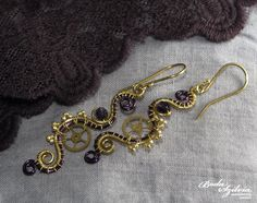 STEAMPUNK PRINCESS  wire wrapped earrings  purple by bodaszilvia, $32.50
