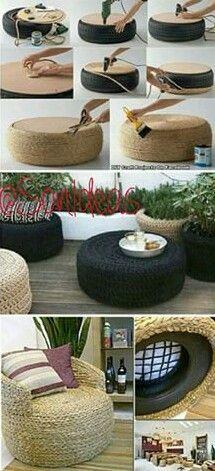 Hermoso juego de muebles de jardín reciclando cauchos