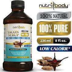 nutribody 100% PURE Yacon Syrup - 100% Natural Raw Yacon Syrup from Yacon Root Extract, 8 fl oz, Natural Source...