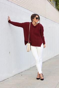 wine knit, white jeans
