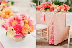 Pink and orange flowers (left picture). This website has several citrus wedding things, though a lot of it is a bit hippie for my taste.
