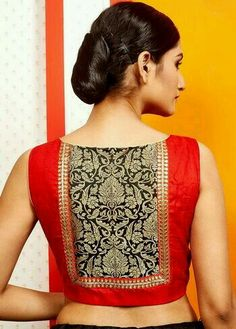 Latest patch work blouse designs 2019 - New Blouse Designs Patch Work Blouse Designs, New Blouse Designs, Saree Blouse Neck Designs, Stylish Blouse Design, Saree Blouse Patterns, Designer Blouse Patterns, Sari Bluse, Bollywood, Beautiful Blouses