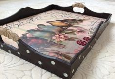 African Wall Art, Recycled Decor, Arte Country, Painted Trays, Tray Decor, Painting On Wood, Chalk Paint, Home Crafts, Bird