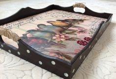 Vintage tepsi - kuş dekupajlı – 10marifet.org