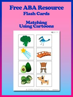 Free Matching Cartoons Flash Cards: Free ABA Resources at www.able2learn.com. A great free resource for your child to teach and have fun using visual aids. #Aba #Resources #Autism #LifeSkills #SpecialNeeds #ABA #ABAresources #AutismEducation #able2learn #Flashcards #VisualAids