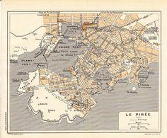 Piraeus  Vintage City Map  Greece 1953 Street Map by carambas, $12.00