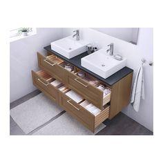 GODMORGON/ALDERN / TÖRNVIKEN Meuble lavabo av lav à poser 45x45 - noir motif pierre, motif noyer - IKEA