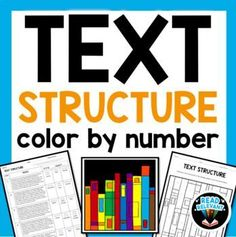 This color by number puzzle is a fun activity to review non-fiction text structures, including: compare/contrast, cause and effect, problem/solution, description, chronological order, and sequence. This activity can be used as a review station, test prep, homework, or Middle School Reading, 4th Grade Reading, Guided Reading, 8th Grade Ela, Fourth Grade, Third Grade, Writing Lessons, Reading Lessons, Reading Skills