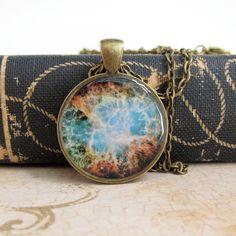 Space Necklace Nebula Jewelry Nerdy Jewelry Resin by silverthaw