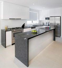 white and grey kitchen Granite Flooring, Granite Slab, Granite Kitchen, Granite Countertops, Elegant Kitchens, Grey Kitchens, Home Kitchens, Kitchen Design, Kitchen Ideas