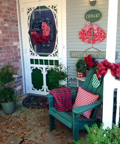 My front porch 2015 – farmhouse front door with screen Front Door With Screen, Screen Doors, Front Doors, Christmas Porch, Christmas Holidays, Farmhouse Front Porches, Country Porches, Porch And Balcony, Victorian Decor