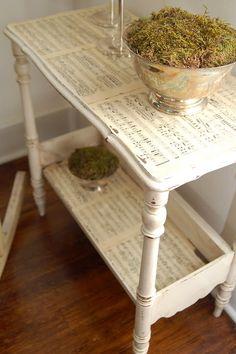 Decoupage Sheet Music Table Decoupage Table, Decoupage Furniture, Diy  Furniture, Painted Furniture,