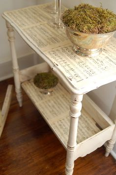 Sheet Music Side Table by MissMustardSeed - THIS ONE LINKS TO PROJECT - simple to do, modpodge sheet music over white painted table and then age - beautiful look, perfect for #ShabbyChic  - #DIY #Table