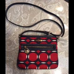 """SALE !Michael Kors Crossbody! Michael Kors Crossbody! Colors are red, blue, and cream.  The size is 9""""w x 7 1/2""""t. Michael Kors Bags Crossbody Bags"""