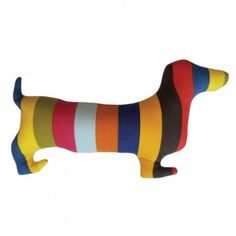 Rainbow Doxie Silhouette Pillow.