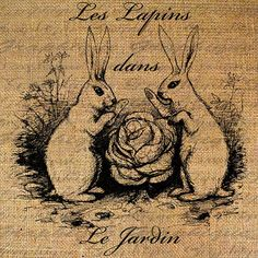 FRENCH Text RABBITS in the GARDEN Bunny Digital Collage Sheet Download Burlap Fabric Transfer Iron On Pillows Totes Tea Towels No. 4027