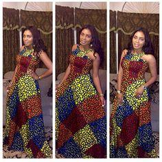 Colorés africains Print Dress robe maxi africain par FashAfrique
