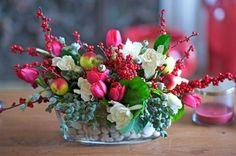 Christmas!  Tulips, Gardenias, berries and apples