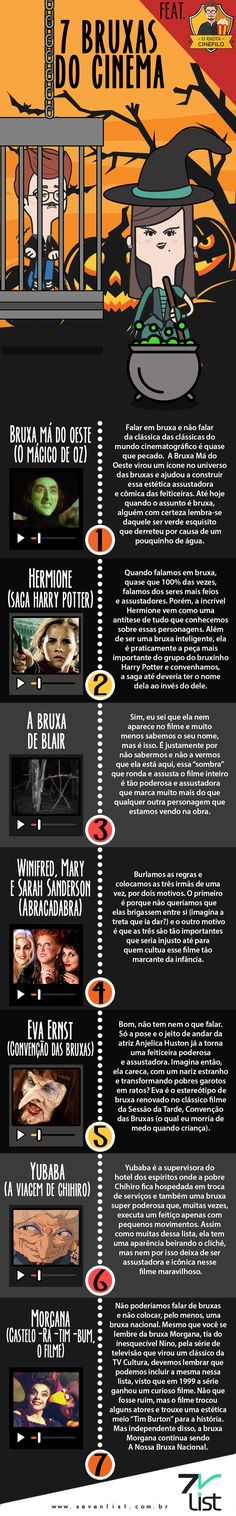 #SevenList #Infográfico #Infographic #Lista #List #Ilustração #Illustration #Design #Bruxas #Witch #Diadasbruxas #Halloween #Filmes #Cinema #OMágicodeOz #Bruxamádooeste #HarryPotter #Hermione #ABruxadeBlair #IrmãSanderson #Abracadabra #HocusPocus #ConvençãodasBruxas #EvaErnst #Yubaba #AsAventurasdeChihiro #Morgana #Casteloratimbumofilme