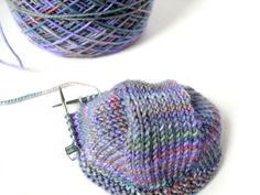 """Darjeeling Cat Bordhi socks on 9"""" circular needles..freshstitches.com"""