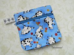 Moo Cow Coin Purse Pouch Cosmetic  READY TO SHIP  by CyndeesGarden, $9.50