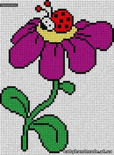 Ladybug and flower pattern Easy Cross Stitch Patterns, Cross Stitch For Kids, Simple Cross Stitch, Cross Stitch Baby, Cross Stitch Flowers, Cross Stitch Embroidery, C2c Crochet, Crochet Diagram, Bobble Stitch