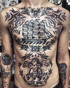 Search inspiration for an Old School tattoo. Neo Traditional Chest Tattoo, Traditional Tattoo Black And Grey, Traditional Tattoo Design, Traditional Tattoos, Torso Tattoos, Stomach Tattoos, Body Art Tattoos, Ship Tattoos, Neck Tattoo For Guys