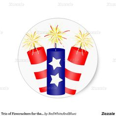 Trio of Firecrackers for the 4th of July #4thofJuly Sticker #IndependenceDay #ID4 -